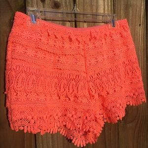 Hot pink lace crocheted shorts